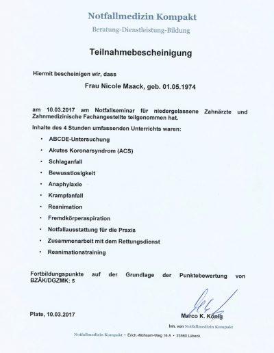 Nicole Maack-Bescheinigung-Notfallmedizin-Kompakt