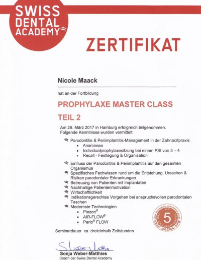 Nicole Maack Zertifikat Prophyl. Master Class Teil 2